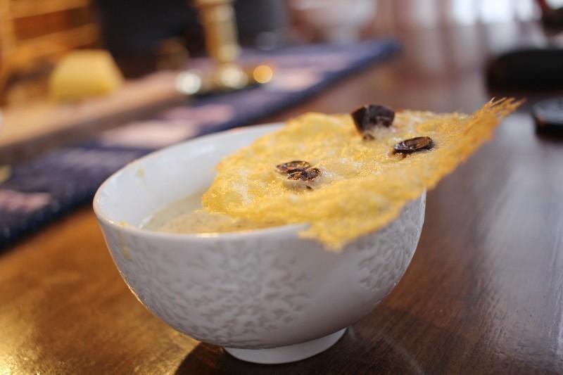 olive soup & parmesan crisp