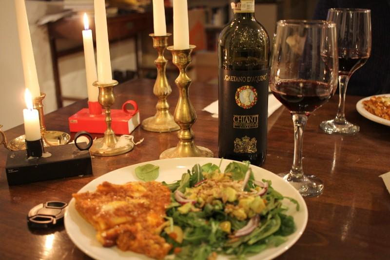 lasagna, salad