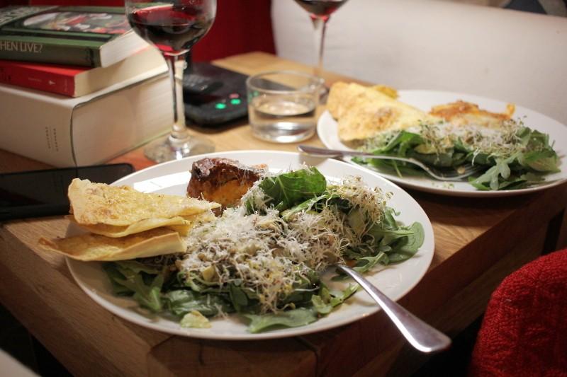 salad, lasagna, wine