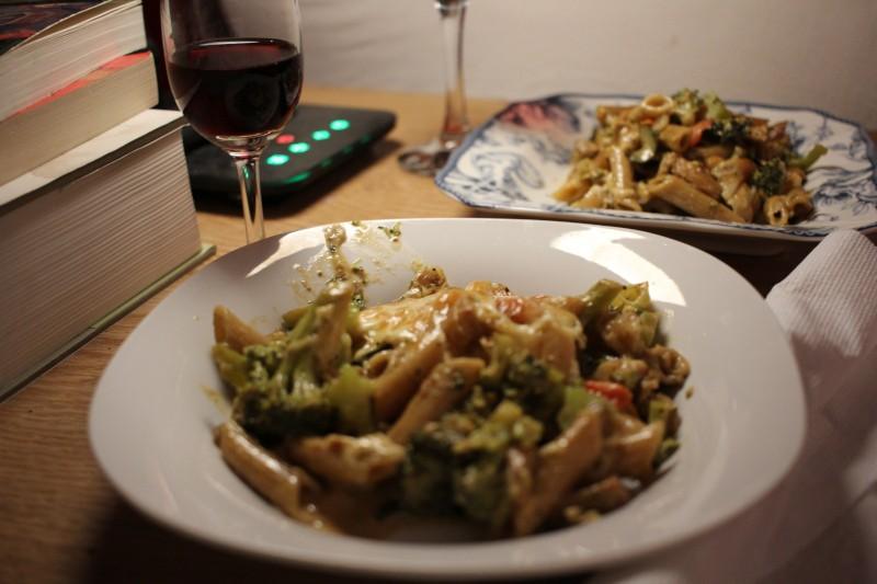 wine, pasta