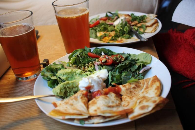 ipa, salad, quesadilla
