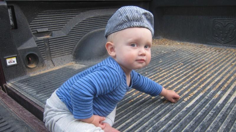 baby in truck